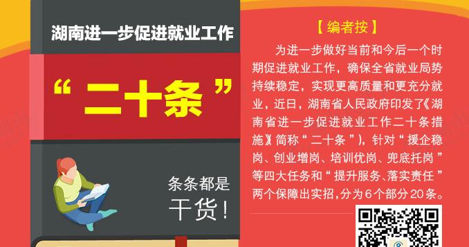"""湖南进一步促进就业工作""""二十条"""",条条都是干货!"""