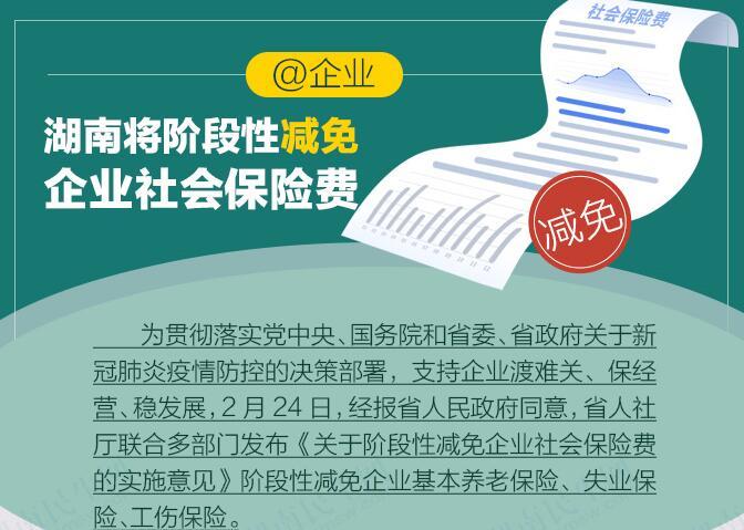 一图看懂丨湖南这样阶段性减免企业社会保险费